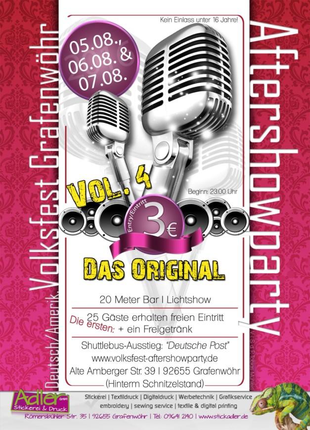"""Volksfest Grafenwöhr Aftershowparty 2016 – Vol. 4 Das Original -- 05.-07. August 2016 """"Hinterm Schnitzlstand"""""""