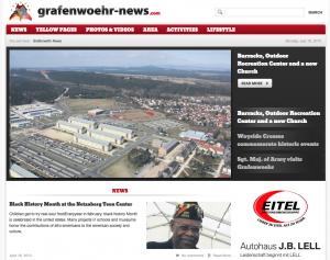 Unser Bild zeigt die Startseite des Onlineportals grafenwoehr-news.com.