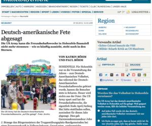 Screenshot Mittelbayerische Zeitung zum Bericht über das Deutsch-Amerikanische Volksfest.