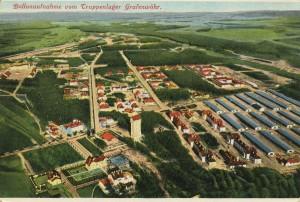 Ballonaufnahme vom Truppenlager auf dem Truppenübungsplatz Grafenwöhr, um 1910. -- Bild: Hans Spahn, Grafenwöhr (Repro: Zenodot Verlagsgesellschaft mbH)