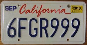 """US Nummernschilder / Autokennzeichen / Plates Californien -- Bild: Jerry """"Woody"""" from Edmonton, Canada (wikipedia.org)"""