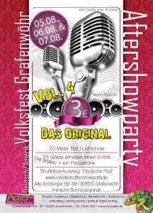 "Volksfest Grafenwöhr Aftershowparty 2016 – Vol. 4 Das Original -- 05.-07. August 2016 ""Hinterm Schnitzlstand"""