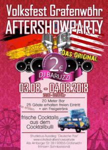 Volksfest Grafenwöhr – After-Show-Party 2018 – Vol. 5 – Das Original! -- Bild: volksfest-aftershowparty.de / Tobias Mühleis